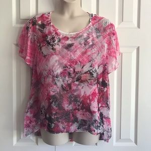 Style & Co sheer overlay blouse